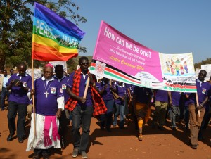 Archbishop Zacchaeus Okoth, Chairman of the Catholic Justice and Peace Commission, leads the Lenten Campaign Launch Procession along the streets of Marsabit Town on Sunday 23rd February 2014